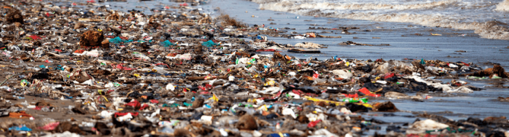 Plastic bag floating into the sea. Polluted enviromental. Recycle